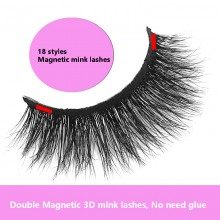 1 pair Magnetic 3d mink eyelashes glueless 18 styles