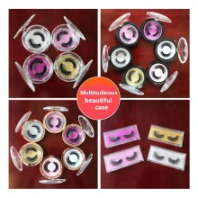 1 pairs 100% 3D mink Lashes colorful crystal round box