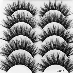 5 Pairs 5D Mink Hair Thick Curled False Eyelashes b5410