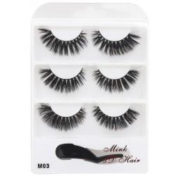 3 pairs 3D mink eyelashes b204