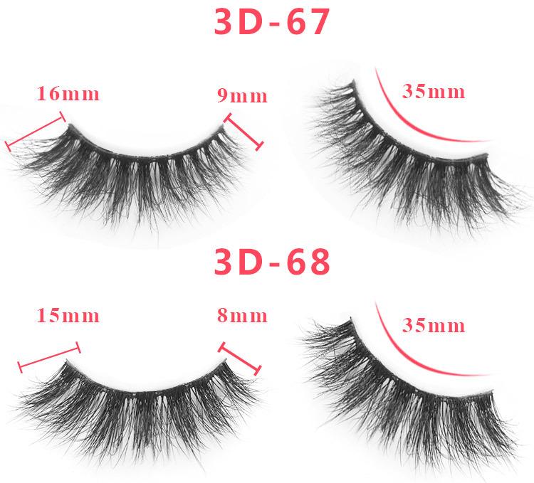 3d mink lashes size details 02351