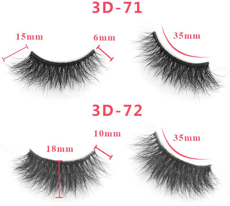 3d mink lashes size details 0871